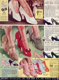 Ladies' Shoes | Spring and Summer 1937 National Bellas Hess | VintageStitches.com