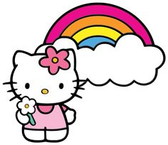 Kitty and a Rainbow - free SVG Images Hello Kitty, Hello Kitty Art, Hello Kitty Coloring, Hello Kitty Theme Party, Hello Kitty Themes, Hello Kitty Birthday, Hello Kitty Backgrounds, Hello Kitty Wallpaper, Kitty Drawing
