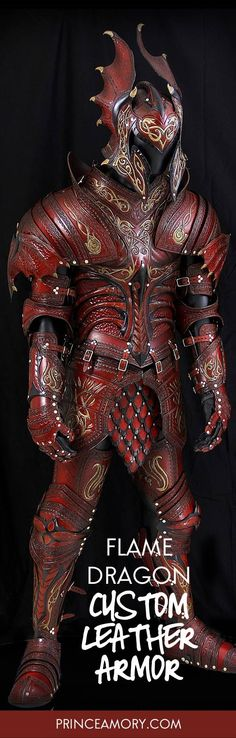 Original Creations – Custom Fantasy Leather Armor This red and black full suit is themed with stylized dragon elements and gold floral scroll work done with a tribal flame design twist.