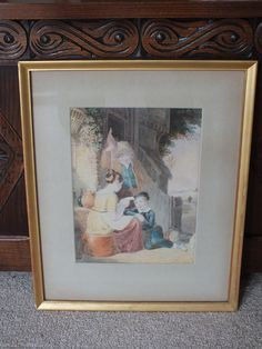 Well executed painting depicting a charming rural scene with a seated girl reading a letter (?) to a young boy, overlooked by an older man holding a red knapsack & rod. No visible signature but believed to be by an English artist. There is a handwritten reference to 'David Cox 1783-1859' to the reverse of frame. Please note that I have not been able to investigate this further.  Under glass, matted and housed within a gilt wood frame with wood backing - ready to hang.