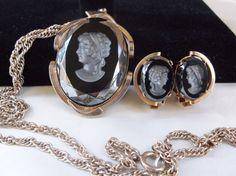 Vintage Antique Black Hematite Intaglio Silver by MemawsTopDrawer, $56.00