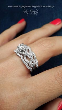 Items similar to CT Infinity Engagement Ring With 2 Wedding Bands, Pave Diamond Ring, Cluster Ring, Art Deco Ring, Infinity Knot Ring on Etsy Diamond Bands, Diamond Wedding Bands, Diamond Jewelry, Wedding Rings, Ring Verlobung, Gold Ring, Dream Ring, Solitaire Engagement, Engagement Bands