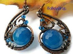 Blue agate earrings Gift for her Copper wire wrapped by BoBoWorlds