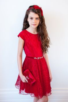 David Charles Style - Dresses for Teens Preteen Fashion, Kids Fashion, Lace Party Dresses, Formal Dresses, Dresses For Teens, Girls Dresses, Pretty Little Girls, Moda Chic, Red Lace