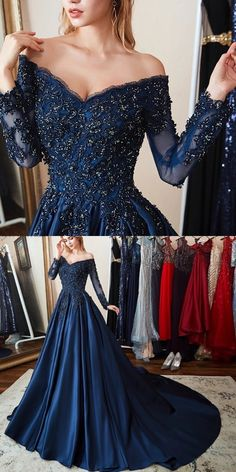 V Neck Long Sleeves Navy Blue Ball Gowns Prom Dresses Birthday Dresses Pageant Gowns With Appliques Beaded Gorgeous Prom Dresses, Navy Blue Prom Dresses, Prom Dresses With Sleeves, A Line Prom Dresses, Lace Evening Dresses, Elegant Dresses, Lace Dress, Navy Blue Gown, Dress Prom