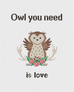 Owl you need is love cross stitch chart Love cross by AnnaXStitch