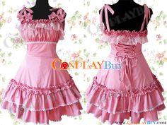 Cotton Pink Lace Ruffle Sweet Lolita Dress  $82.99