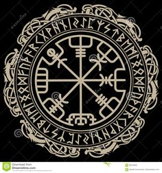 Illustration of Viking design, magical runic compass Vegvisir, in the circle of Norse runes and dragons. vector art, clipart and stock vectors. Viking Compass Tattoo, Viking Rune Tattoo, Norse Tattoo, Celtic Tattoos, Viking Tattoos, Viking Dragon Tattoo, Armor Tattoo, Warrior Tattoos, Celtic Symbols