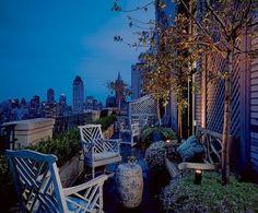 a cozy, narrow terrace   (via designer: David Easton)