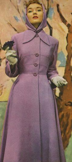 1949 Vogue purple coat 40s 50s long jacket lavender color photo print ad