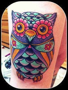 girly sugar skull owl tattoo - Google Search