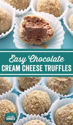 Only five ingredients. The perfect sweet treat. Taste like Chocolate Cheesecake. Easy Chocolate Cream Cheese Truffles look fancy but are super simple to make! ~ http://reallifedinner.com
