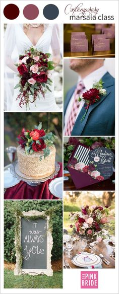 Marsala wedding color palette inspiration board with contemporary details