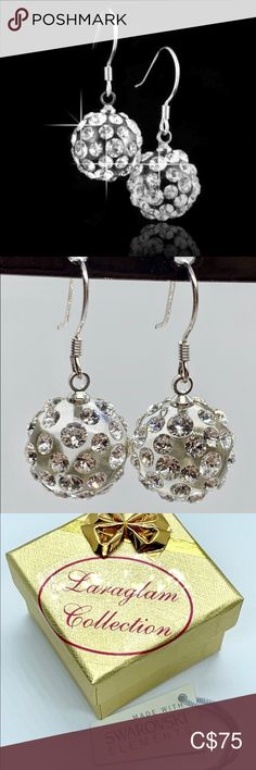 Swarovski crystal ball drop earrings Swarovski® crystal ball drop earrings. Hand crafted to perfection, set on a transparent lucite, while embellished with clear Swarovski® crystal elements. These gorgeous earrings are 925 sterling silver, lead and nickle free and are perfect for sensitive ear types. Clear backings included.  Lightweight, easy to wear, comfortable, and look amazing when worn.  Makes an excellent gift idea. Luxury gift box and certificate of authenticity included with each…