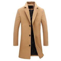 LEFT ROM Men's long color windbreaker 2017 high-end fashion woolen coat man Business Casual Overcoat Pure cotton Slim Jacket