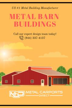If you're considering a metal barn? Hire the best metal barn #builders in North Carolina, US. Metal Carports Direct is one of the leading metal building manufacturers that provide high-quality metal structures for your vehicle parking, horse barns, workshop, #farming, and agriculture equipment #storage needs. Call our expert design team today! (844) 337-4137 #metalbarns #metalbuildingkits #metalgarages Metal Carports, Metal Garages, Metal Barn Kits, Agriculture, Farming, Metal Building Kits, Barn Builders, Metal Structure