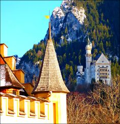 Two Ludwig II Castles - Bavaria, Germany - Jon Lander ©2016 - this king was one of the last people in the world to believe in the divine right of kings and was also insane. The fancy castle below wasn't good enough so he built the fancier one up the hill, and then sounder minds drowned him in the lake.