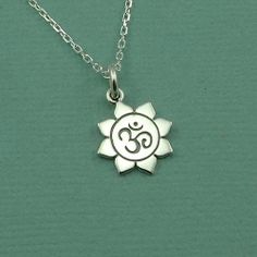 Petite Om Necklace  sterling silver zen yoga jewelry by TheZenMuse, $29.00