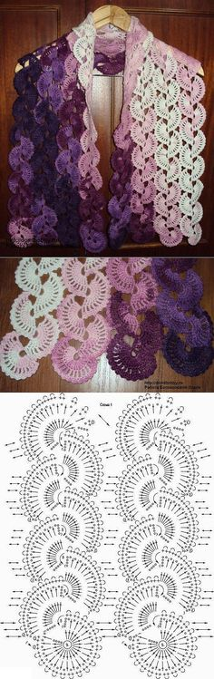 Floral crochet lace tape for a scarf. The colours of the self-striping yarn show beautifully! Crochet Diagram, Crochet Chart, Crochet Motif, Crochet Lace, Crochet Afgans, Crochet Stitches Patterns, Lace Patterns, Crochet Scarves, Crochet Clothes