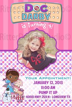 doc mcstuffins birthday invitations so cute