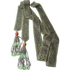 "1920's Art Deco Glass Seed Bead 72"" Long Flapper Wedding Cake Bead Tassel Necklace"