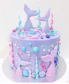Mermaid Birthday Cakes, Mermaid Cakes, Birthday Cake Girls, Birthday Parties, 5th Birthday, Birthday Ideas, Easy Birthday Cakes, Birthday Decorations, Birthday Cake Designs