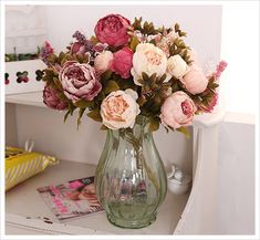 fall wedding peonies bouquets and centerpieces | ... Bouquet-5-Colors-High-Simulations-Artificial-Silk-Flowers-Home-Wedding