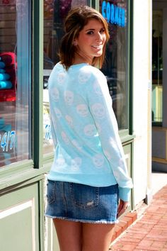 skull printed pullover Sweater, 2013 fashion sky blue pullover with white skull #skull #printed #pullover #Sweater www.loveitsomuch.com