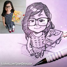 American artist Robert DeJesus continues to transform strangers' photos into anime versions of themselves and we thought it's high time to look at his new works Cartoon Drawings Of People, Sketches Of People, Cartoon Sketches, Cartoon Faces, Cartoon Styles, Drawing People, Drawing Sketches, Cartoon Girls, Cartoon Drawing Tutorial