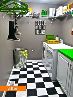 cool laundry room idea...think I will paint the cement floor in mine to look like this....maybe not black though...maybe antique teal and crisp white!