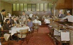 The dining room of the Riverside Hotel, circa filled with characters that seem straight out of Mad Men. The Riverside was located at 399 River Road in Vanier, across from the Rideau River, and just south of Montreal Road. Riverside Hotel, Of Montreal, Capital City, Mad Men, Table Settings, Dining Room, Characters, Home Decor, Decoration Home