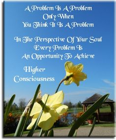 """""""A problem is a problem only when you think it is a problem. In the perspective of your Soul every problem is an opportunity to achieve Higher Consciousness."""" Quote on photo of daffodils. Spiritual Quotes To Live By"""