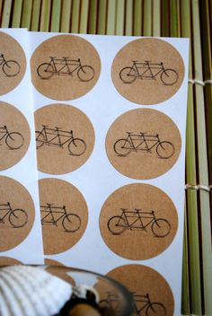 24 Handmade Tandem Bicycle kraft round by hobbiesfromtheheart, $2.99