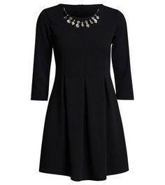 Perfect little black dress option for evenings out.Gorgeous necklace includedFit and flare sleevesZip at backApprox E Long Sleeve Evening Dresses, Long Sleeve Mini Dress, Dress Long, Holiday Party Dresses, Dress Party, Perfect Little Black Dress, Elegant Woman, Special Occasion Dresses, Skater Dress