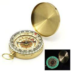 Flip-Open Gold Plated noctilucent Pocket Compass – USD $ 7.99