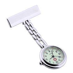 Reloj cuarzo acero Broche p Enfermera portátil luminoso