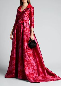 Atelier Caito for Herve Pierre Floral Jacquard Trench Gown - Bergdorf Goodman Fashion Designers Names, Top Designers, Maroon Bridesmaid Dresses, Halter Gown, Satin Shirt, Silk Gown, Gowns With Sleeves, Evening Gowns, Luxury Fashion