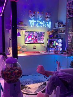 Cute Bedroom Decor, Bedroom Setup, Room Design Bedroom, Room Ideas Bedroom, Gaming Room Setup, Cool Gaming Setups, Pc Setup, Otaku Room, Neon Room