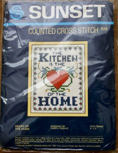 The Kitchen is the Heart of the Home Counted Cross Stitch Kit Sunset 939  4 x 5 Framed Size Needlework Vintage NIP by BluetreeSewingStudio on Etsy