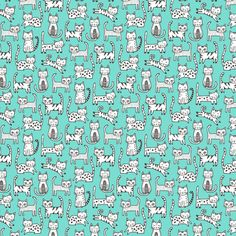 Cats on Mint Tiny Small fabric by caja_design on Spoonflower - custom fabric
