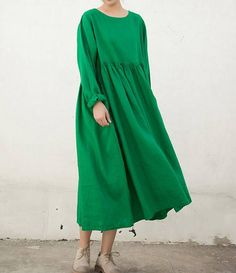 Green long dress yellow long dress Loose big swing robe