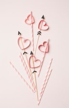 valentine's day party ideas - paper party straw hearts and arrows