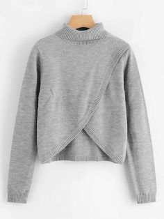 Marled Knit Overlap Sweater - Fashion Trends of Winter Womens trendy sweaters 2020 Sweater Fashion, Sweater Outfits, Fall Outfits, Fluffy Sweater, Asymmetrical Sweater, Color Block Sweater, Sweater Weather, Sweaters For Women, Pullover