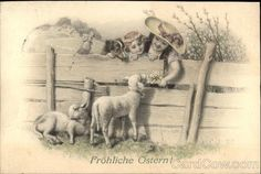 Joyous Easter with Children & Lambs With Lambs   Type: Divided Back Stamp: 10 heller Postmark/Cancel: Vienna, Austria