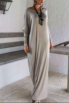 Khaki Long Sleeve Loose Fit Asymmetric Maxi Dress - US$21.95 -YOINS