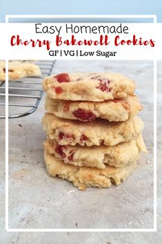 Cherry Bakewell Cookies (GF, DF, Low Sugar) • naturallysweetlife