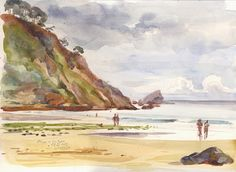San Pedro beach, at north coast of Spain. Watercolor on Canson paper, by Catalina Somolinos.
