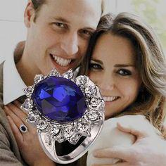 Británica Kate Princesa Diana William Anillo de Compromiso de la Boda Azul de Cristal Cubic Zirconia Joyería de Moda Para Mujeres de La Señora Al Por Mayor