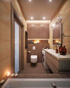 A fürdőkádban állva egy igen dekoratív térben lehetünk! A nyugtató barna csempék, a gyertyák és a rejtett világítás lágy fénye egy elvarázsolt teret biztosít a mindennapi fürdés-tisztálkodás feladatainak!