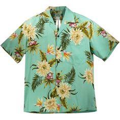 ハワイアン メンズアロハレーヨンアロハシャツ 【 セレス 】 グリーン